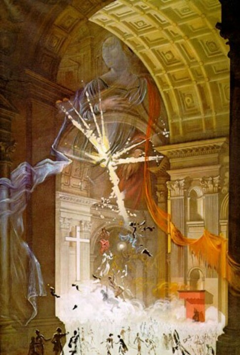 """Salvador Dali, """"St. Peter's in Rome 'Explosion of Mystical Faith in the midst of a Cathedral'"""" (1957)."""