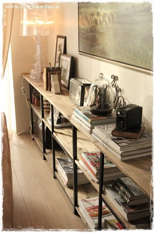 I wanted a Restoration Hardware/Pottery Barn-ish industrial looking shelves for the living room. ...