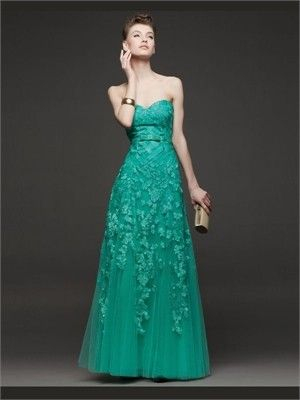 Green A Line Sweetheart Applique Tulle 2014 Prom dresses