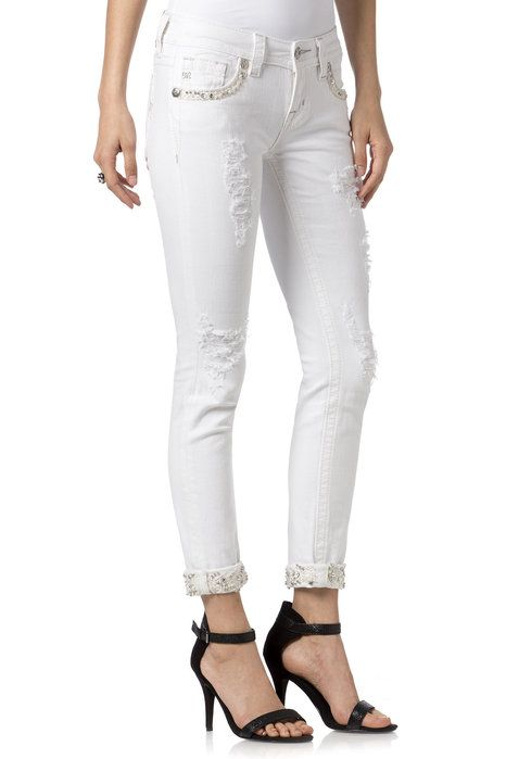 Miss Me - White Electric Cuffed Skinny. Vita jeans med strass.