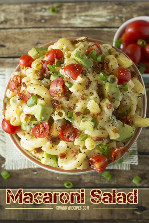 Macaroni Salad - A fresh and flavorful macaroni pasta salad loaded with fresh avocado, bacon, chopped cherry tomatoes and other artisan products.  This dish is great for summer entertaining and ill be the first thing gone.
