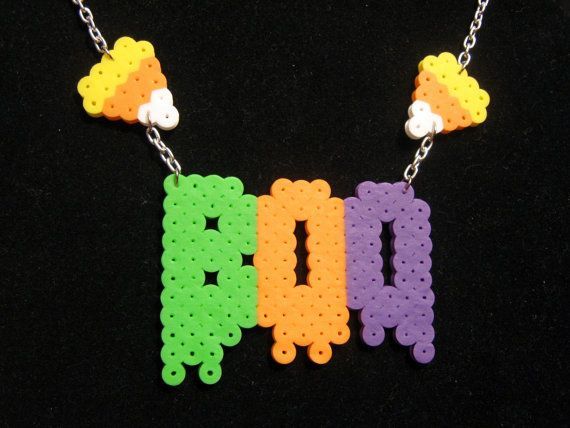 """BOO & Candy Corn NECKLACE // Spooky Cute HALLOWEEN Perler Beads // 16"""" Silver Aluminum Curb Chain with Lobster Clasp by RainbowMoonShop on Etsy"""