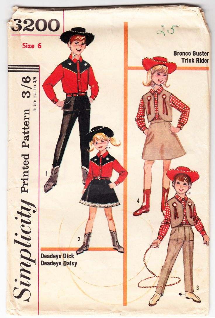 Vintage 1965 Simplicity 6200 UNCUT Sewing Pattern Kids' Western Costume Size 6 by SewUniqueClassique on Etsy https://www.etsy.com/listing/159967346/vintage-1965-simplicity-6200-uncut