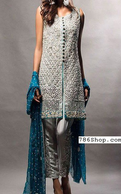 Silver Raw Silk Suit | Buy Pakistani Indian Dresses