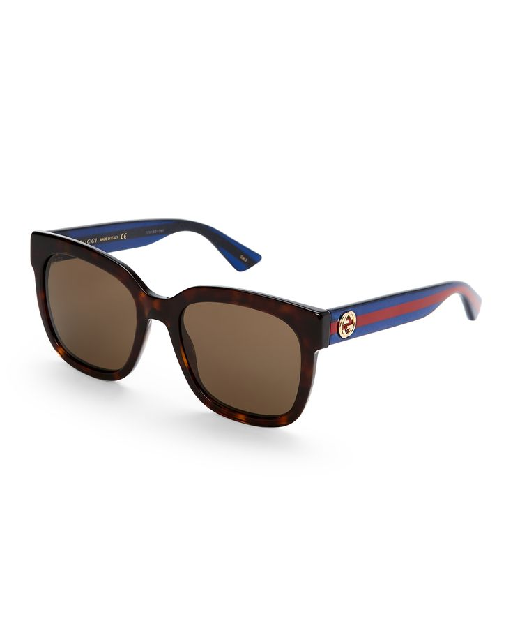 Gucci GG0034S Logo Arm Square Sunglasses