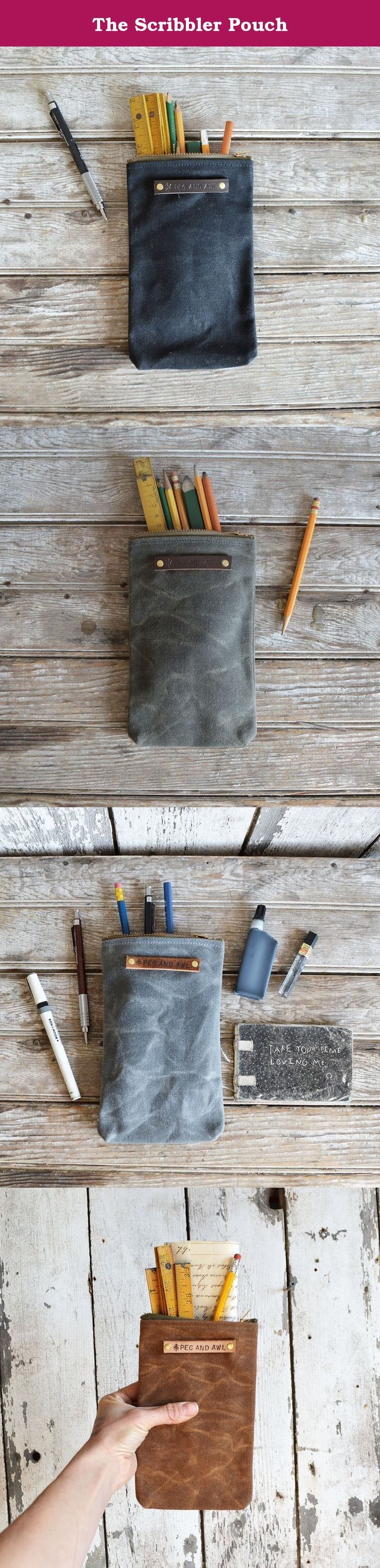 The Scribbler Pouch. The Scribbler is the perfect case for a writer, a drawer or scribbler. Great for pens, pencils and even a little journal. This pouch is the perfect addition for a bag that needs another secret spot. Constructed waxed canvas originated in the sailing industry in Scotland in the 1920s and became widely used in sportswear and apparel because of its waterproofing abilities and superb durability. 15 oz. waxed duck canvas (19 oz. with wax) Vintage zipper colour varies from…