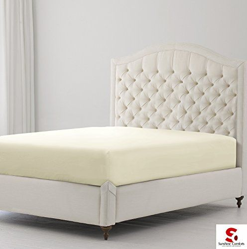 From 8.49 Sunshine Comforts Hotel Quality Percale Cotton Rich Extra Deep 40cm/16in Fitted Bed Sheets (double Cream)