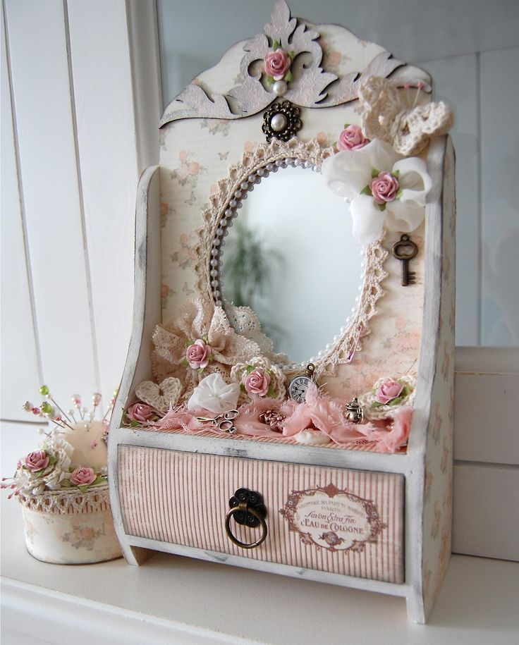 """Search the craft shops for something unfinished you can """"pimp out"""" like this! You have scrap trims, ribbons, fabrics, etc. to use for this. LOVE this little mirrored cabinet with drawer, altered in #shabby #chic style - now I'm inspired with the idea of making scaled down simple pieces and fancy-ing them up ..would love to try something similar to this - lovely piece! - mirror with drawer and pin-cushion from Ingrid's .FUN PROJECT!"""