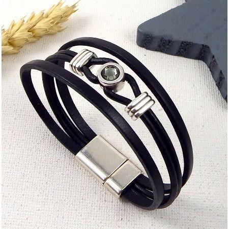 Kit tutoriel bracelet cuir noir cristal swarovski avec perles et fermoir plaque argent : Kits, tutoriels bijoux par bijoux-giuliana