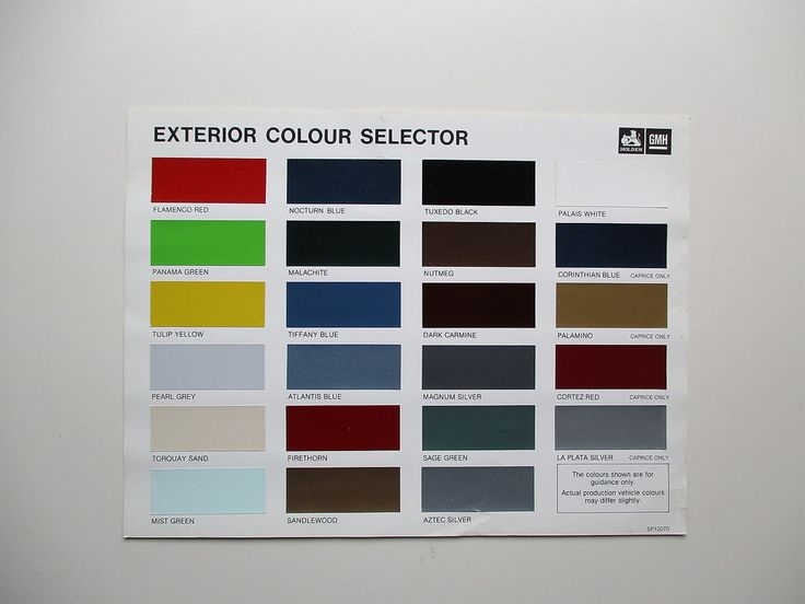 1972 Holden Paint Charts And Color Codes - Bertemu co