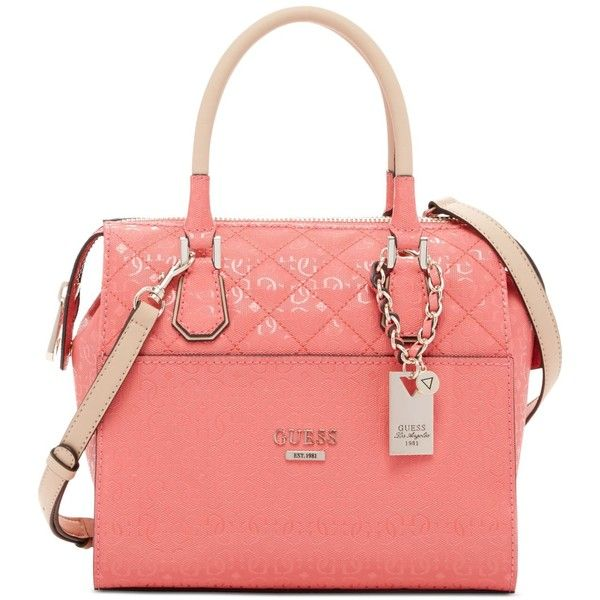 Guess Romeo Box Satchel (155 CAD) ❤ liked on Polyvore featuring bags, handbags, coral, red satchel, satchel handbags, red bag, red satchel bag and guess bags