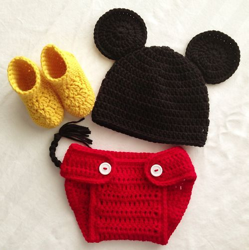 Free Crochet Pattern For Mickey Mouse Shoes : Crocheted Mickey Mouse Baby Boy 3-6 Months Photo Prop ...