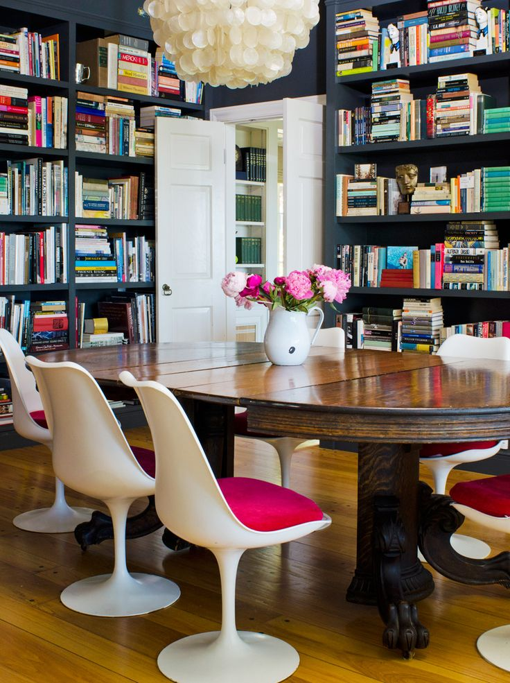 gray bookcase walls & retro chairs: Dining Rooms, Spaces, Bookshelves, Idea, Modern Chairs, Home Libraries, Color, Tulip Chairs, Wood Tables