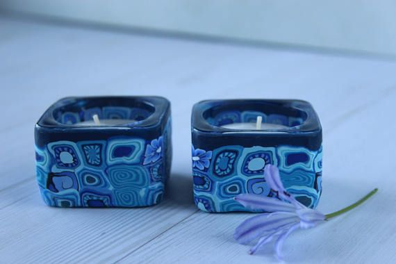 Blue tea-candle holders, blue shabbat candlesticks, blue bat mitzva gift, hostess gift, judica gift, tealight centerpiece, Jewish wedding, square candle holders  This lovely blue tea-candle holders are a small yet effective ornament to your table. May serve as Shabbat candles,or just to add atmosphere to your room.  Those tea-light candle hokders are a great gift to a Bat Mitzva girl.  A perfect housewarming gift, wedding gift and a great accessory to livenup your dining room.   Please…