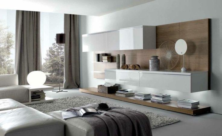 salon- moderne blanc et taupe avec tapis gris et meuble suspendu blanc laqué