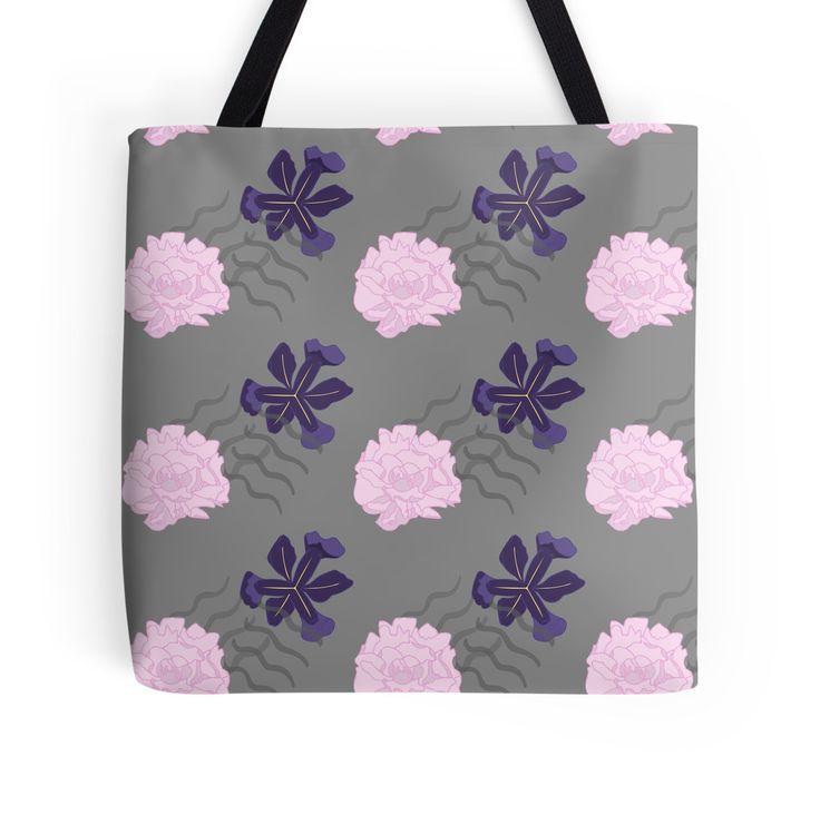 Blooms Between Lines Tote Bag by SquibbleDesign