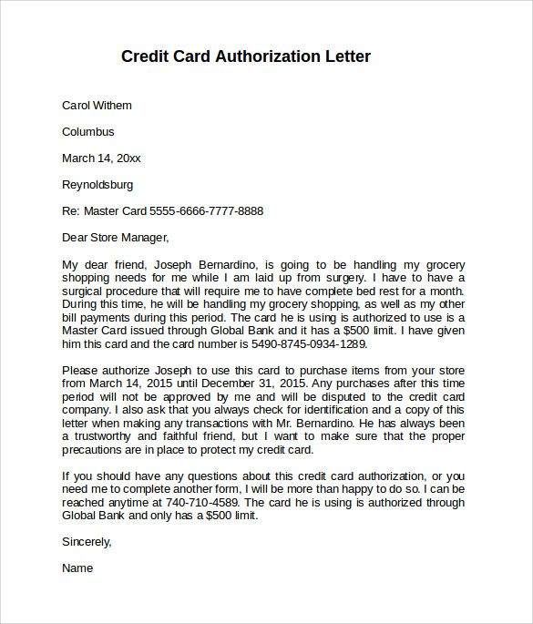 Awesome Credit Card Authorization Letter Contemporary - Best