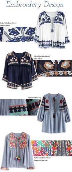 Slide a little folksy flavor into your fall closet with these fun festival-esque tops. Their delicate, beautiful embroidery give them a look as elegant as fine China.