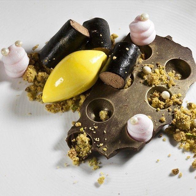Chocolate mousse, pistachio crumble, rose foam, and saffron ice cream by @genevievemeli #TheArtOfPlating