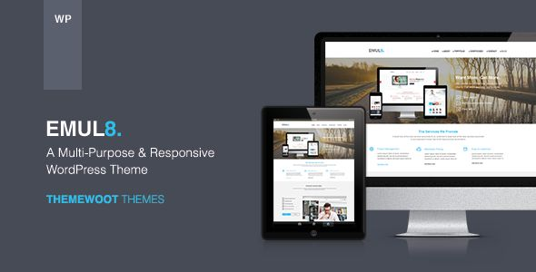 Emulate: Multi-Purpose Responsive WordPress Theme   http://themeforest.net/item/emulate-multipurpose-responsive-wordpress-theme/6058805?ref=damiamio       Emulate is a clean, modern design multipurpose wordpress theme can be used for any type of website build professional and modern websites. Control every pixel of this theme. Set your colors, background patterns, change fonts, change layouts for different pages. It comes with 4 default homepage and 3 ready-make skins, you can easy to build…