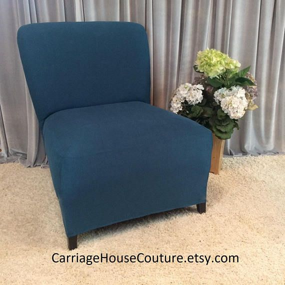 Slipcover Teal Suede Chair Cover For Armless Chair Slipper Chair