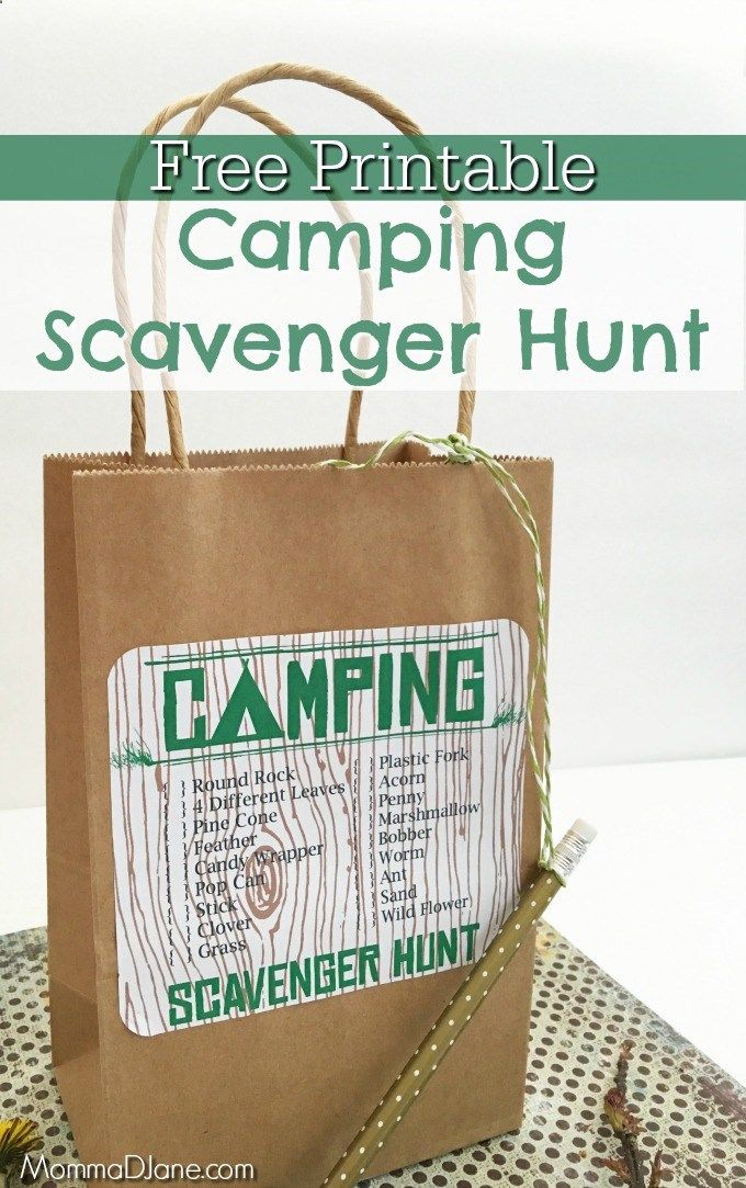 Free Printable Camping Scavenger Hunt. Simple DIY camping activity to encourage the kids to get outdoors and have fun without electronics.