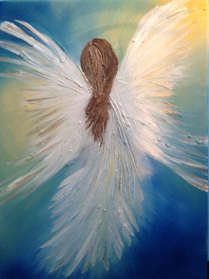 Angel on canvas, oil painting.