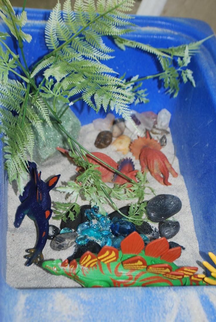 dino land sand table familylicious