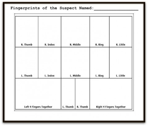Free printable fingerprinting chart a part of this DIY dollar store Detective or Spy Kit post!