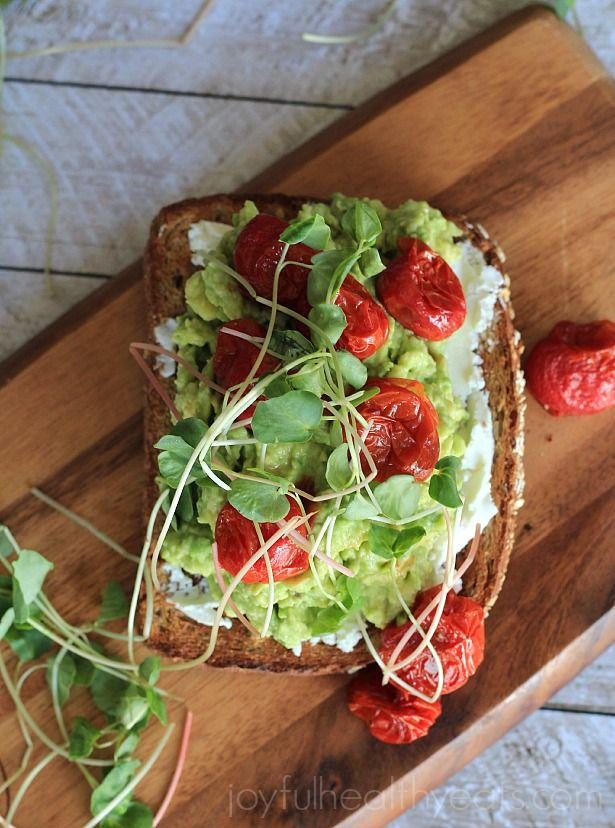Avocado Goat Cheese Sandwich with Roasted Cherry Tomatoes #vegetarian ...