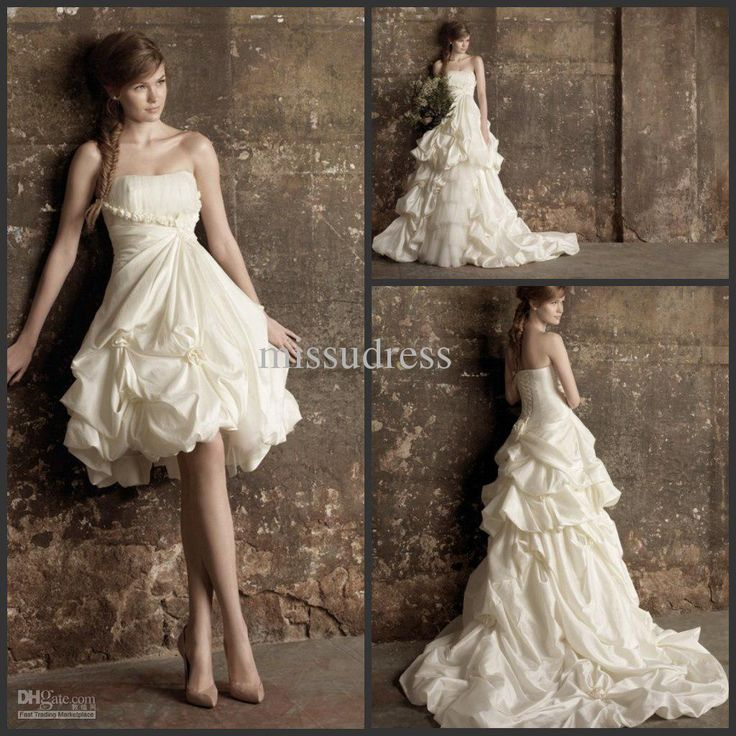Fresh Custom Made Fast Shipping Flower Embellishment With Detachable Train Two in One Wedding Dress Bridal Gown