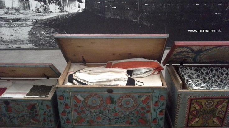 Kalotaszeg dowry chests, ethnographic museum Budapest