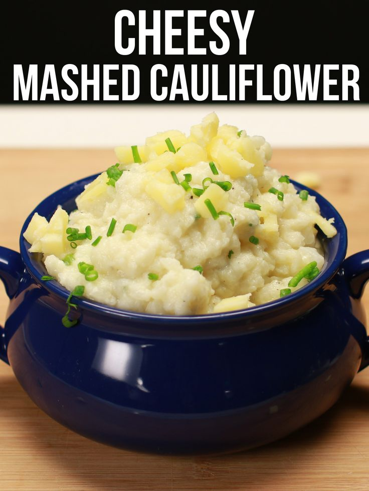 Cheesy Mashed Cauliflower. Instead of mashed potatoes for Thanksgiving. Then we can have cheesy potato casserole and not feel too potatoey