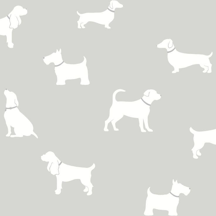 Pooch Grey Dogs Mica Effect Wallpaper | Departments | DIY at B&Q