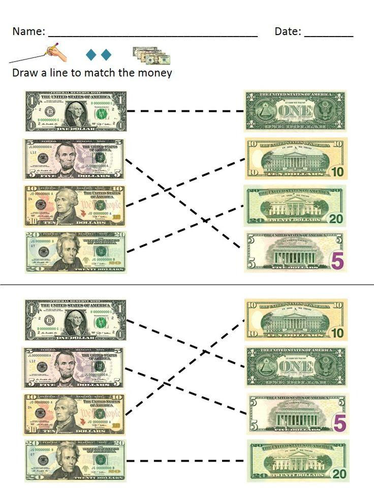 money math dollar bills identification and value worksheets. Black Bedroom Furniture Sets. Home Design Ideas