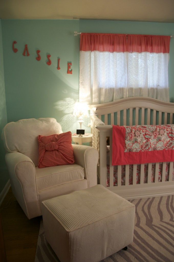 Curtains For Baby Girl Nursery: 51 Best Coral & Robin's Egg Blue Nursery Images On