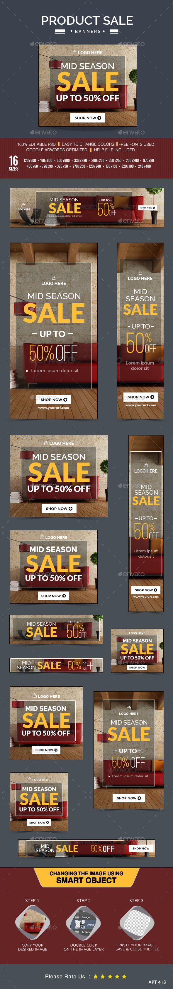 Mid Season Sale Banners. Promote your Products and services related to Mid Season Sale with this great looking Banner Set.