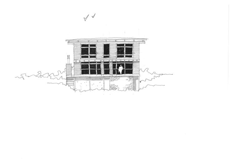 Elevation study for a proposed timber house.