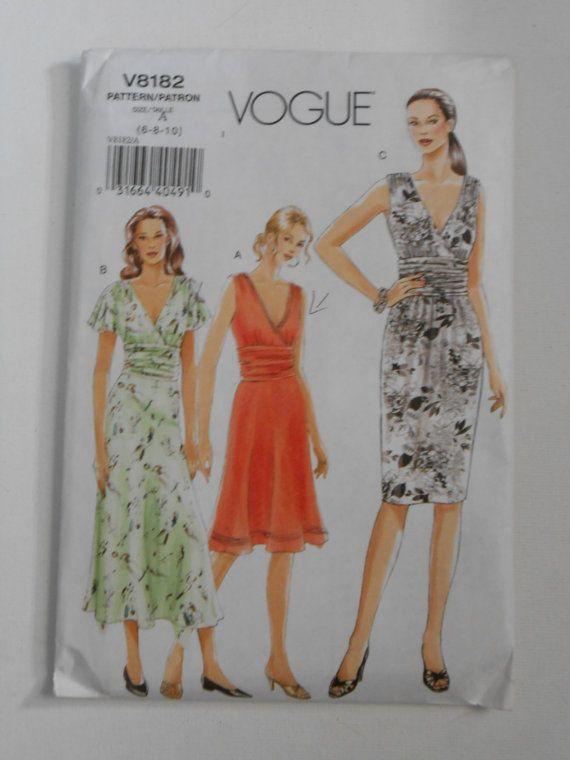 Vogue V8182 V Ausschnitt Kleid Mustergröße 6 8 10 von lisaanne1960