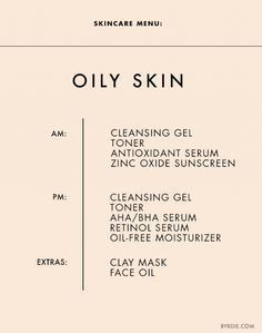 Skincare Menu: Oily/Acne-Prone Skin #SkinCareTipsF…