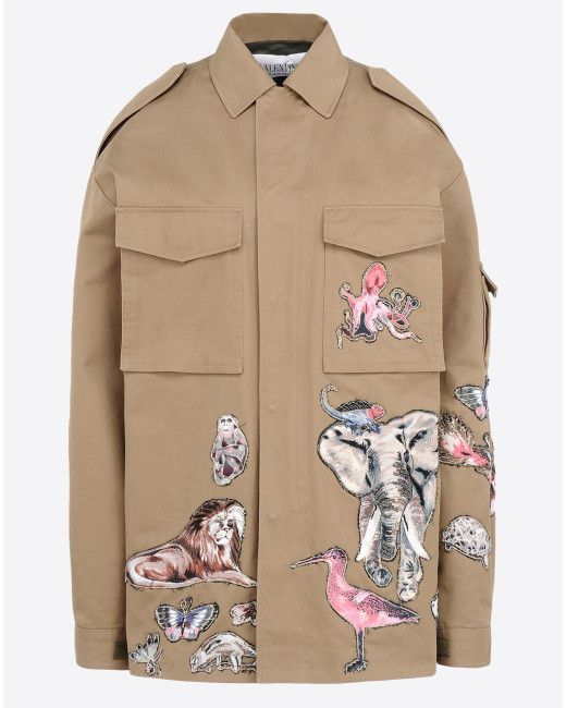 Valentino | Green Embroidered Safari Jacket | Lyst