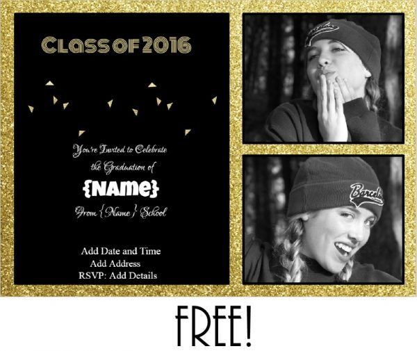 Free printable graduation invitation that can be customized.