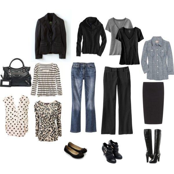 Need Investment Basics: Jeans 2 pair (Dark and Light Wash), Black Slacks, Black blazer, Black Leather Bag, Chambray Shirt, Black Cardigan (shawl collar), Black boots (flats), Black ballet flats.