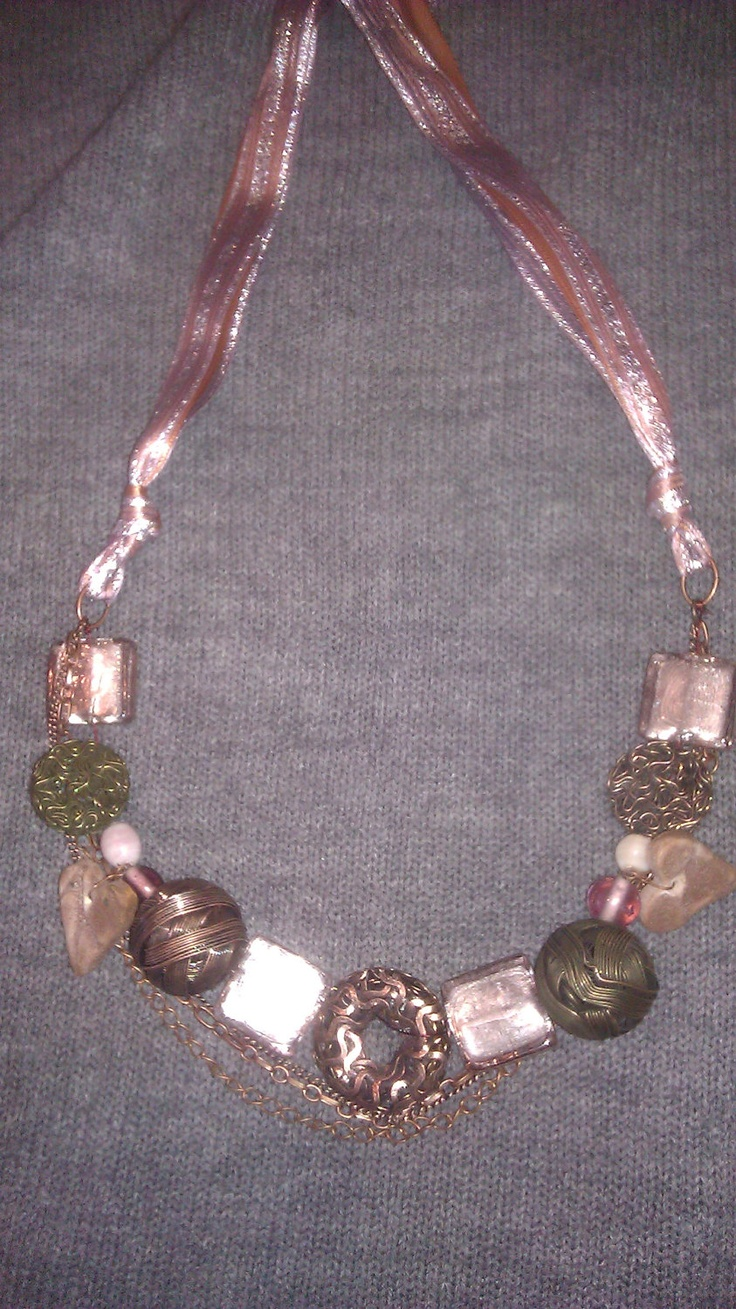 Contemporary Copper Blushing Cluster Necklace by Handbuilder, $40.00Cluster Necklaces, Blushes Cluster, Copper Blushes, Contemporary Copper