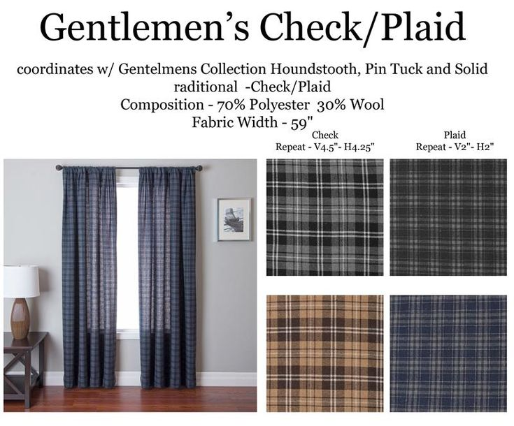 """Gentlemen's Check Plaid Curtain Panels in gray, black, blue or brown color with flannel style blend : ralph lauren style : in standard and extra long ready-made draperies (108"""" or 120"""" inch) : lining options including interlining and blackout curtains 