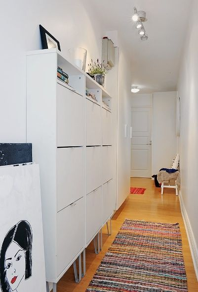 Like this idea...especially if your home has wide hallways.  http://www.pinterest.com/dragicaj/mali-prostori-small-spaces/