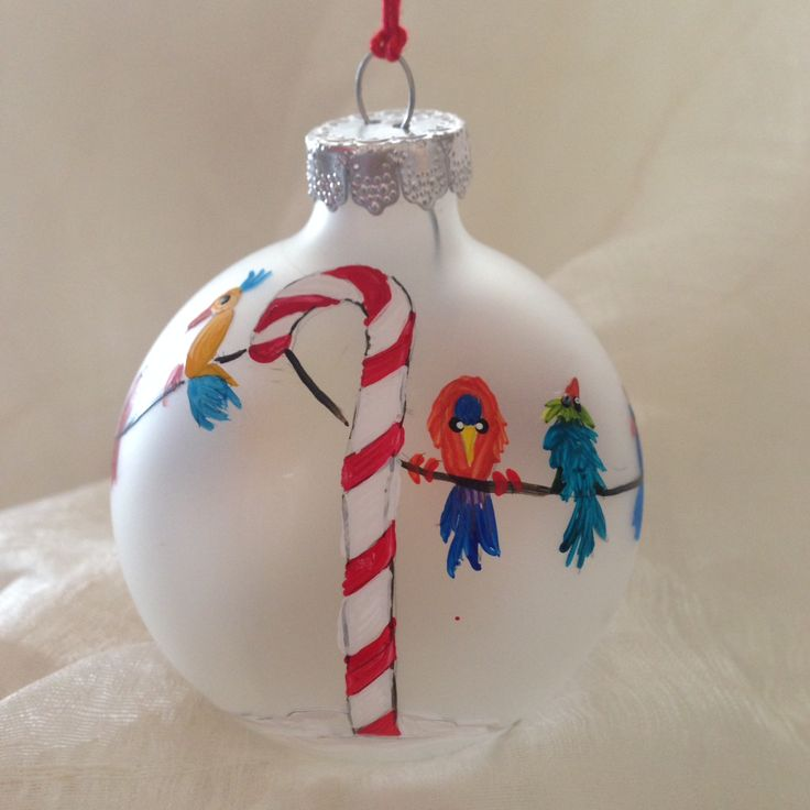 Holiday birds on a wire handpainted by Melissa McNamara
