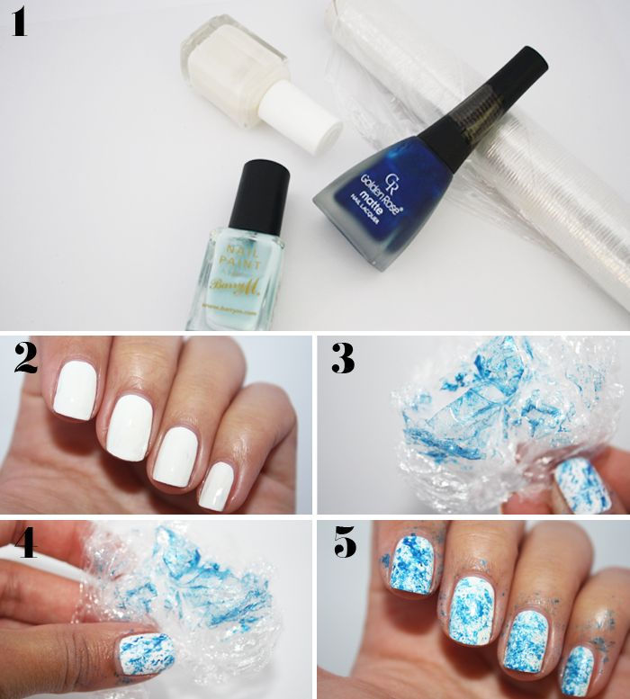 How to: Saran wrap nail art.