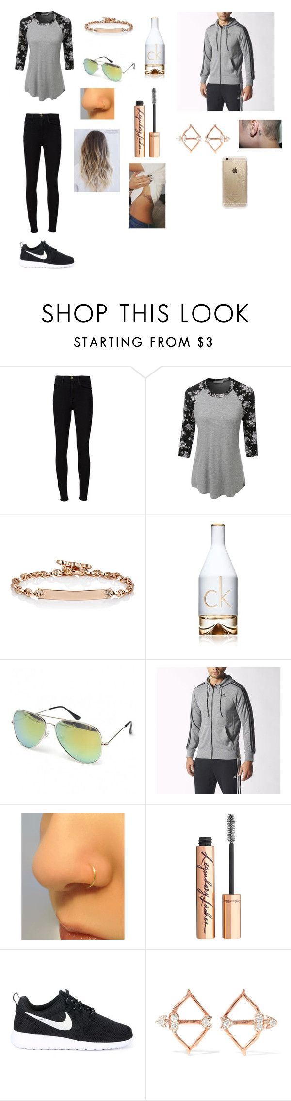 Untitled #227 by katrine-frid on Polyvore featuring LE3NO, Frame Denim, NIKE, Hoorsenbuhs, Aamaya by priyanka, Rifle Paper Co, adidas, Charlotte Tilbury and Calvin Klein