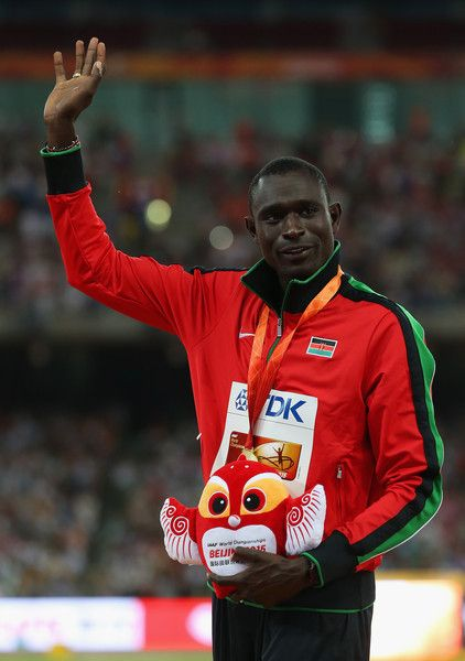 Gold medalist David Lekuta Rudisha of Kenya poses on the podium during the medal ceremony for the Men's 800 metres during day five of the 15th IAAF World Athletics Championships Beijing 2015 at Beijing National Stadium on August 26, 2015